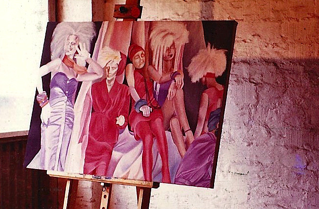 """Ingrid C.Lockowandt's studio in Hohwacht at the baltic sea, Germany. Painting """"Mannequins NYC"""""""