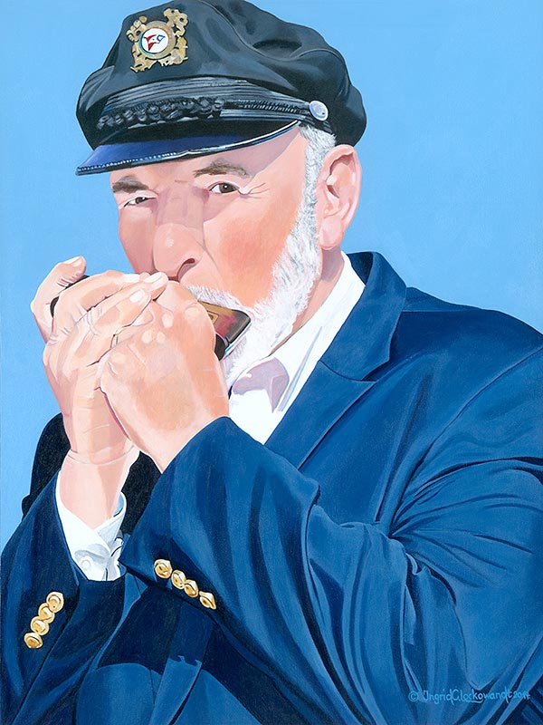 The Harmonica Player  Acrylic on Canvas  18 x 24 inches  Commissioned portrait by Mel Owen