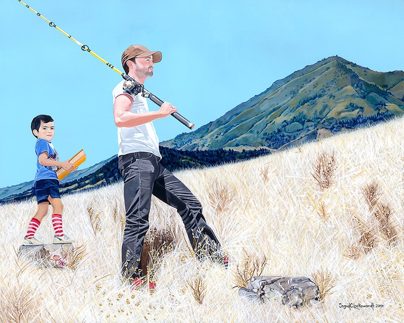 Father and Son, Acrylic on Canvas, 48 x 60 inches, 2014. Winner of 2015 Marin Magazine's Cover Contest. Private collection Author Anne Lamott.
