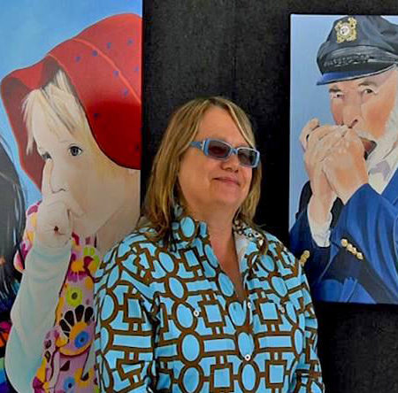 The artist Ingrid Lockowandt with the commissioned portrait The Harmonica Player