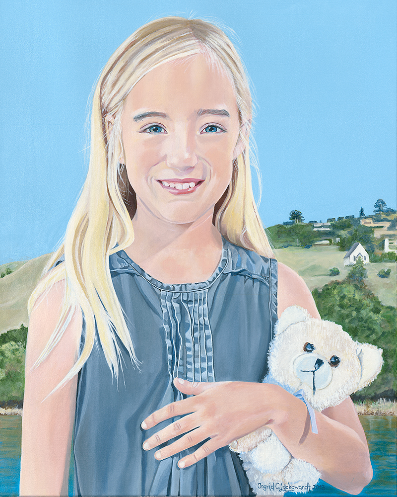 Ingrid Lockowandt  Emily Acrylic on Canvas 20 x 34 inches  Commissioned Portrait  Susan Schneider, Tiburon, CA